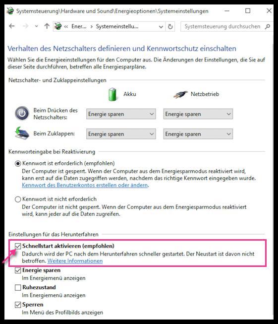 Windows 10: Schnellstart deaktivieren - so funktioniert es
