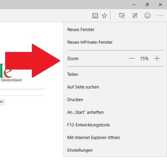 Edge: Webseiten mit Zoom vergrößern oder verkleinern
