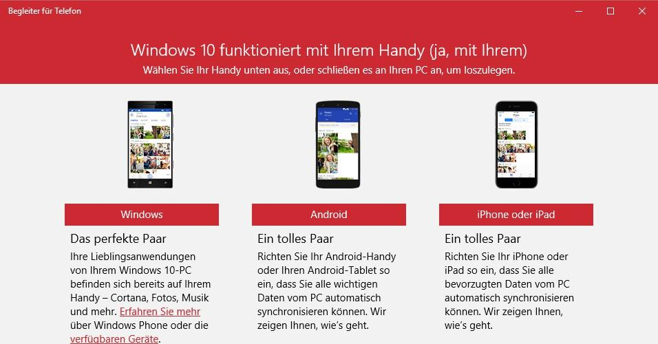 Begleiter für Telefon: Windows 10 mit Android und iOS synchronisieren