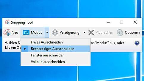Snipping Tool nutzen, um Screenshots mit Verzögerung zu erstellen