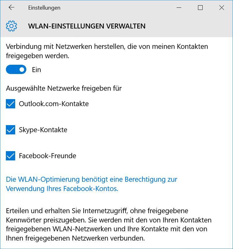 WLAN Freigabe für Facebook-Kontakte unter Windows 10 aktivieren und deaktivieren