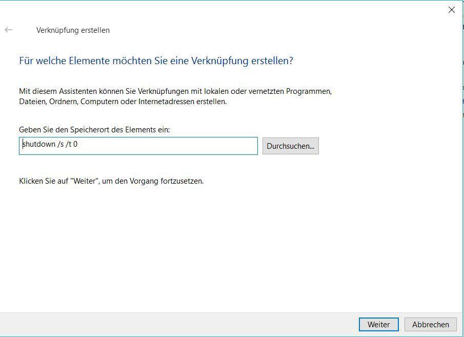 Mit einer Desktop-Verknüpfung Windows 10 herunterfahren