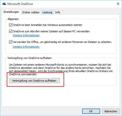 OneDrive - Verknüpfung mit Windows 10 aufheben