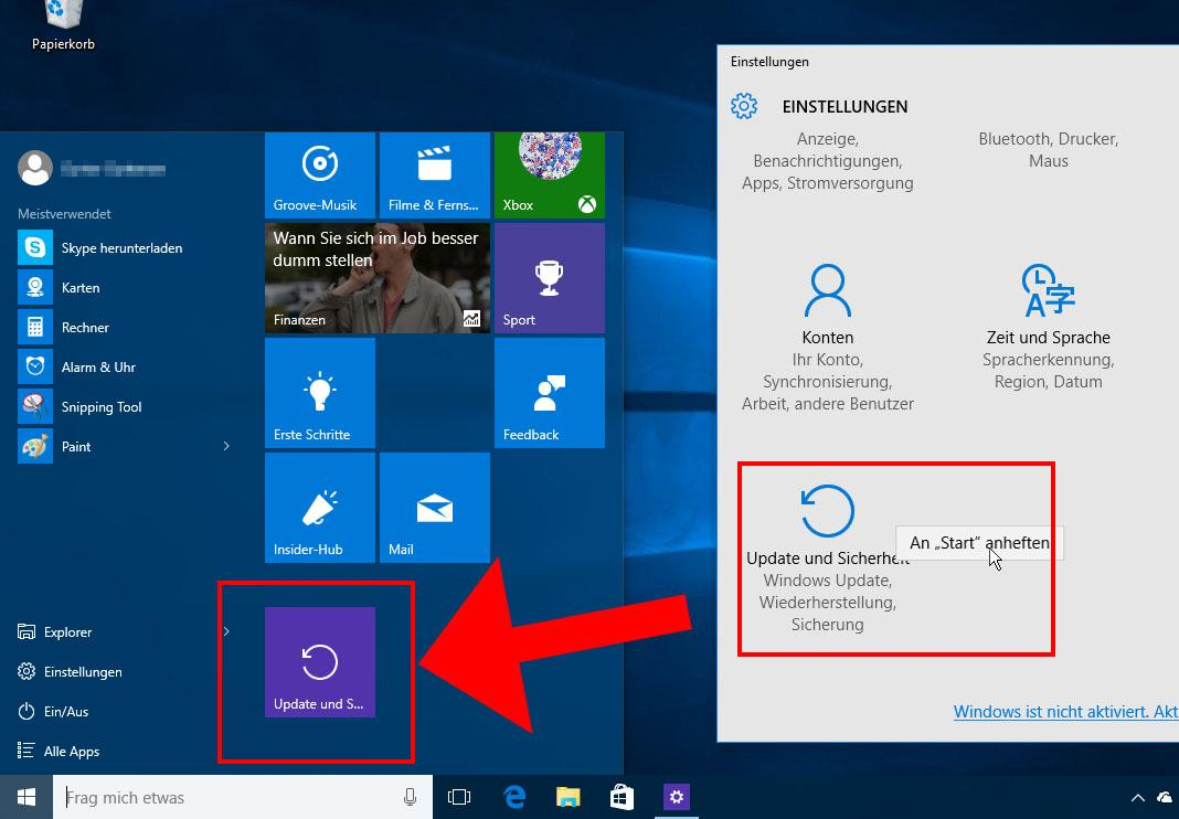 Tricks für das Windows 10 Startmenü