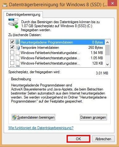 Windows Datenträgerbereinigung - so am besten