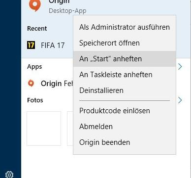 So Heften Sie in Windows 10 Programme ans Startmenü