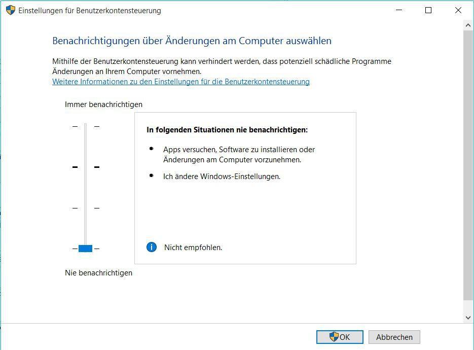 Windows 10: UAC deaktivieren - so klappt es
