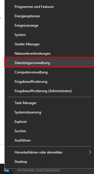 Datenträgerverwaltung unter Windows 10 starten