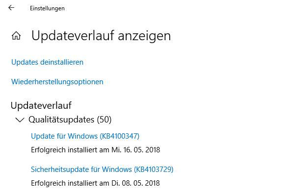 Update Verlauf bei Windows 10 anzeigen lassen - so gehts
