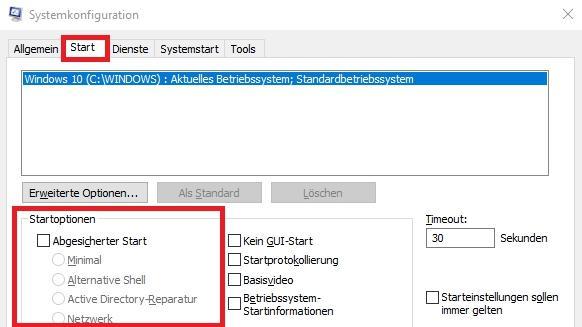 Beenden des abgesicherten Modus unter Windows 10