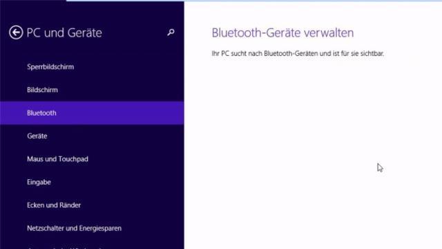 Bluetooth unter Windows 10 über das Suchfeld deaktivieren