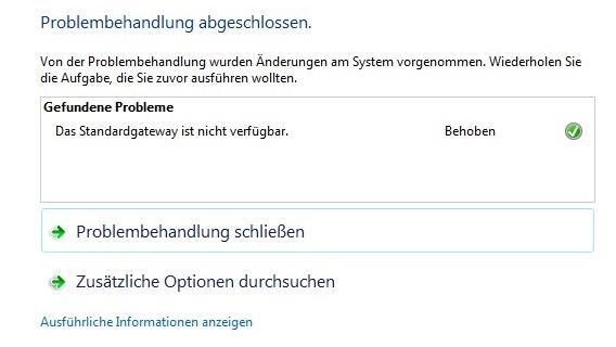 Standardgateway nicht verfügbar unter Windows 10 - Lösung