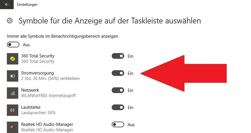 Akkuanzeige auf Laptops in Taskleiste anzeigen - so geht's
