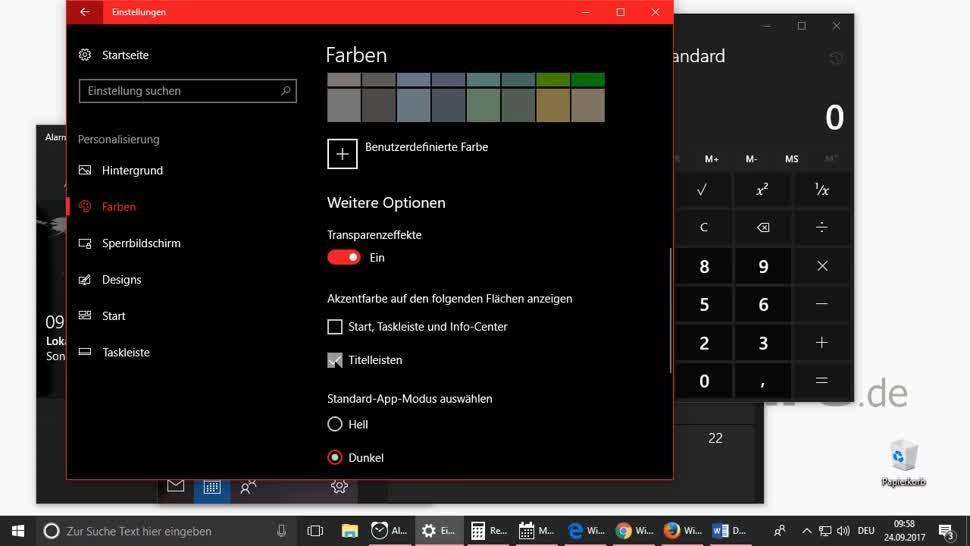 So ändern Sie das Design von Windows 10