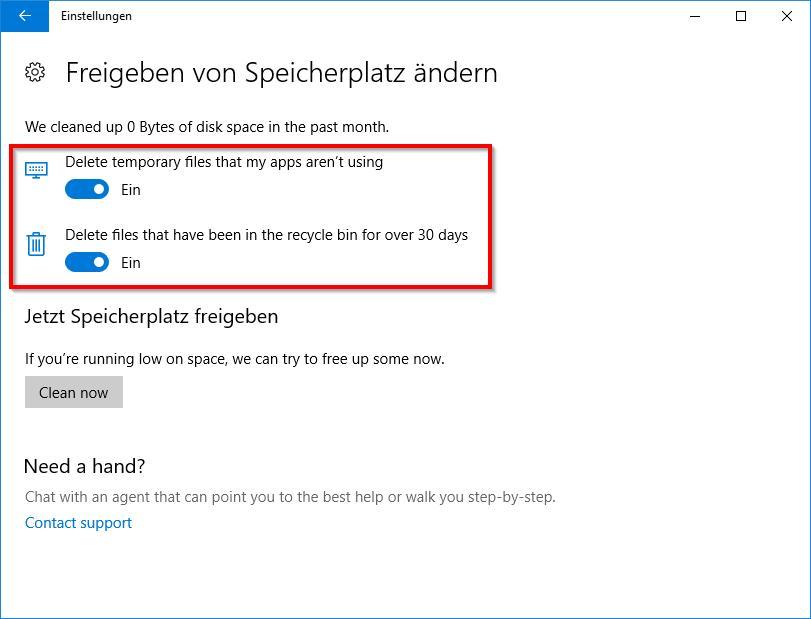 Speicherplatz freigeben unter Windows 10
