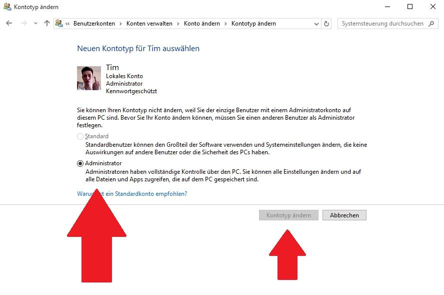 Administrator ändern in Windows 10 - so gehts