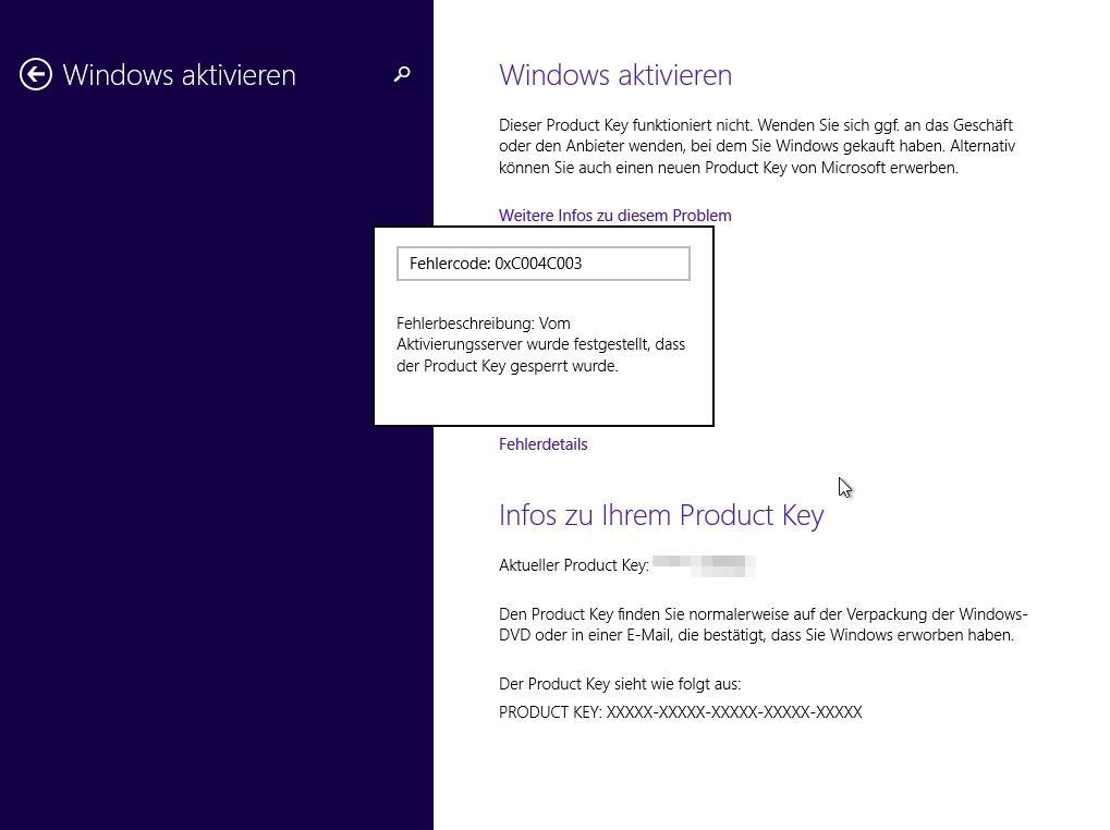 Fehlercode 0xc004c003 in Windows 10 - was hilft?