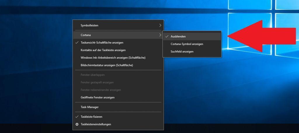 Suchfeld aus der Taskleiste in Windows 10 entfernen