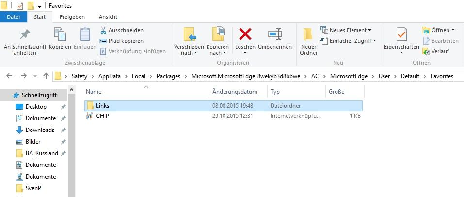 Favoriten / Lesezeichen in Windows 10 Edge finden