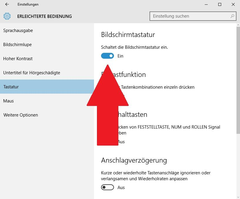 Bildschirmtastatur aktivieren in Windows 10