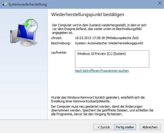 Windows 10 Systemwiederherstellung durchführen - so klappts