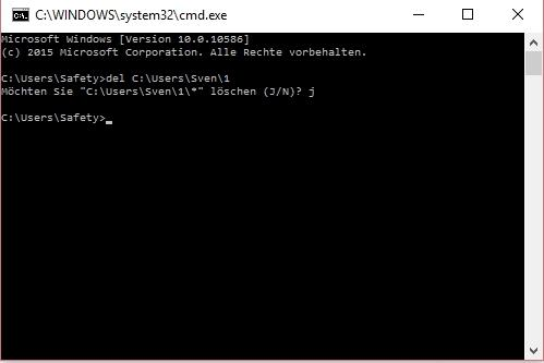 Ordner kann nicht gelöscht werden in Windows 10