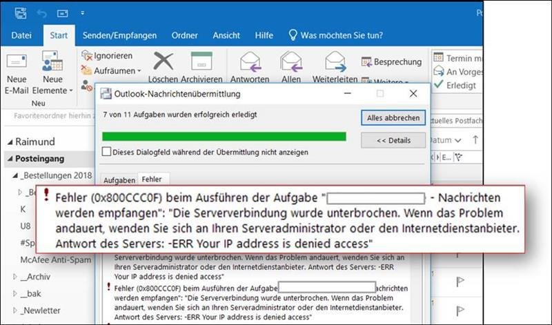 Fehler 0x800ccc0f in Outlook - das hilft