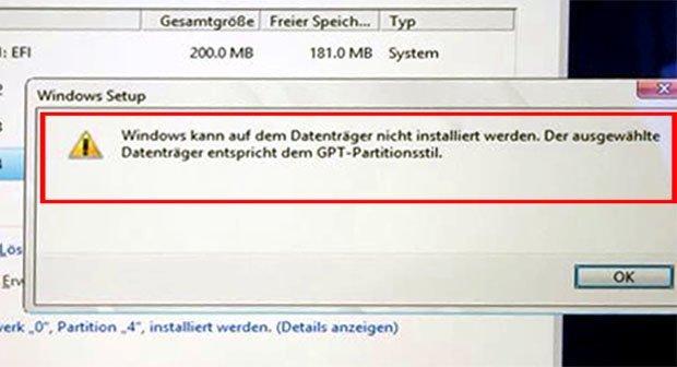 Windows 10 kann auf dem Datenträger nicht installiert werden - MBR Fehler beheben