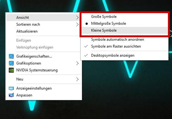 Desktop-Symbole verkleinern in Windows 10 - so gehts