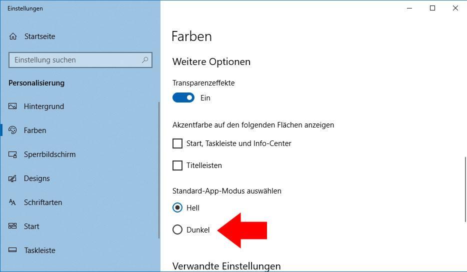So schalten Sie den Dark Modus unter Windows 10 ein