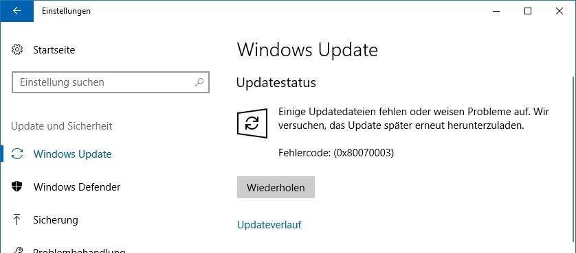 Fehler 0x80070003 beim Windows Update - Lösung