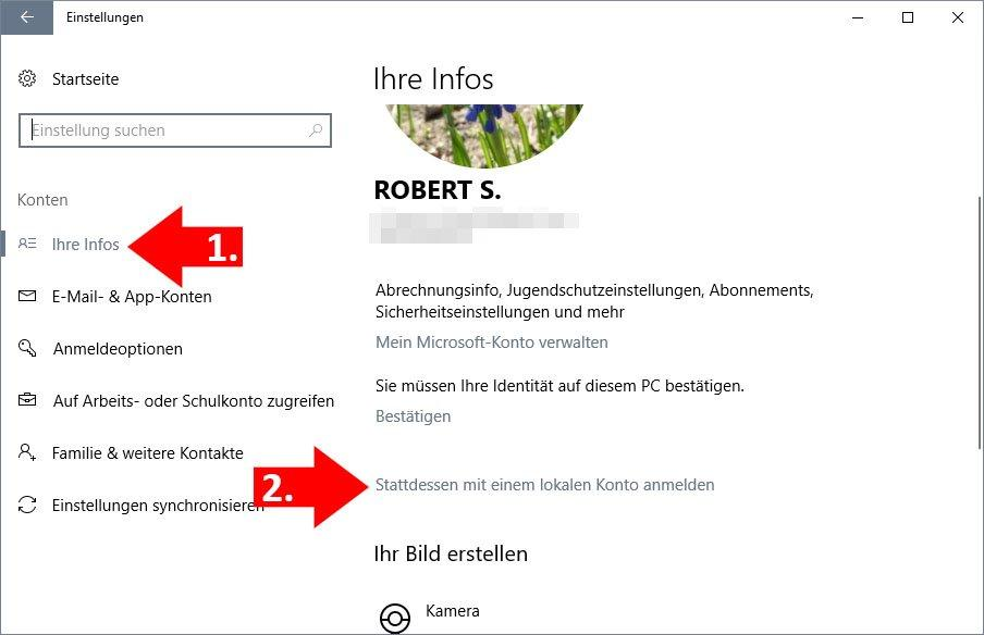 Windows 10: Microsoft-Konto auf lokales Konto ändern - so gehts