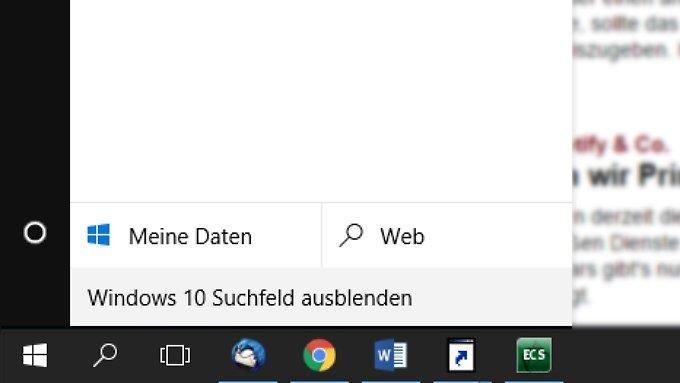 So können Sie unter Windows 10 das Cortana-Suchfeld in der Taskleiste verkleinern oder ausblenden