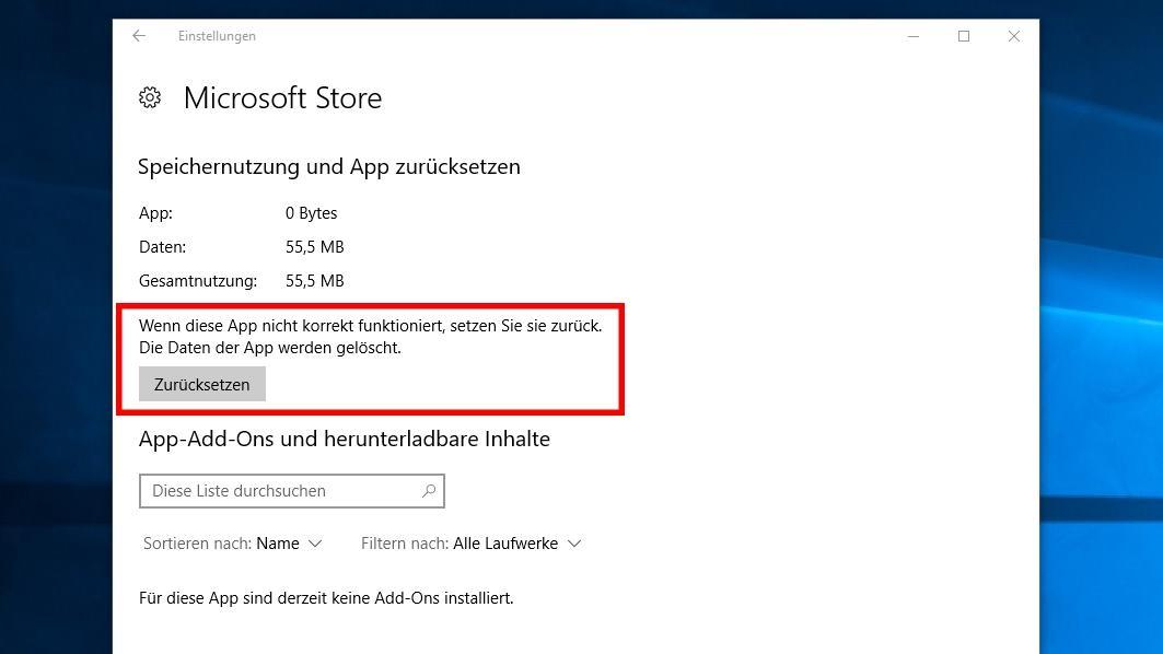 Windows Store zurücksetzen und reparieren - so geht es