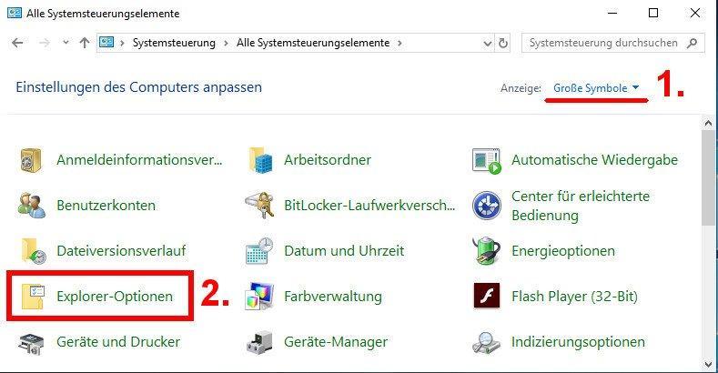 Ordneroptionen öffnen und anpassen in Windows 10