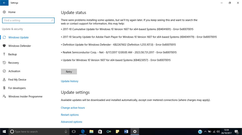0x80070015 Update Fehler in Windows 10 beheben