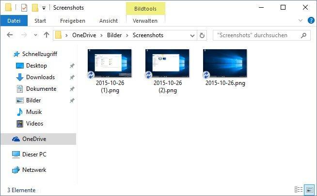 Screenshots unter Windows 10 automatisch in OneDrive speichern
