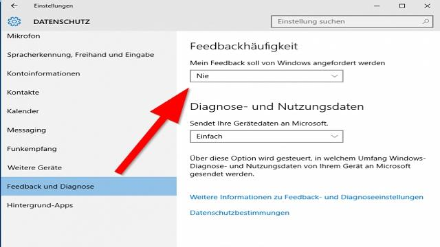 Feedback-Funktion in Windows 10 deaktivieren - so geht es