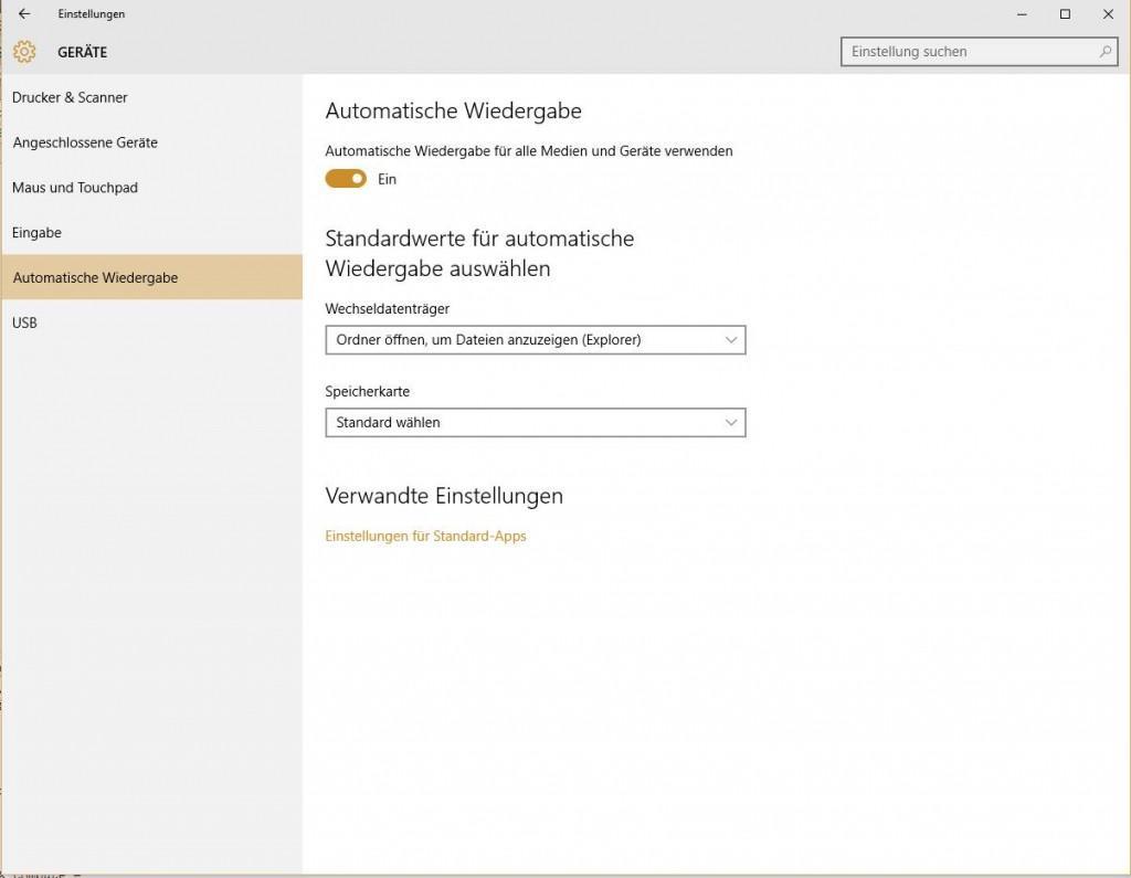 Automatische Wiedergabe ausschalten in Windows 10