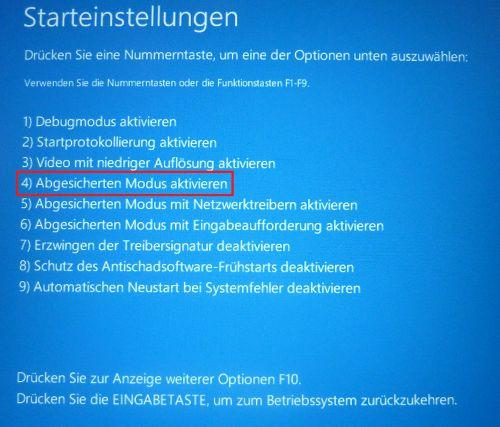 Windows 10: abgesicherten Modus starten