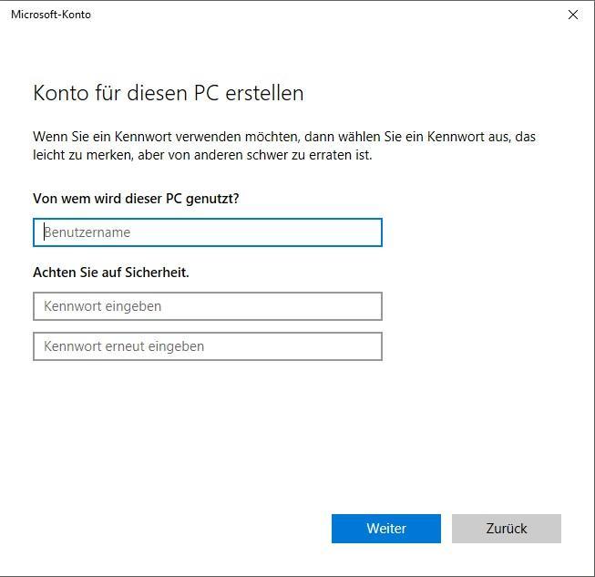 Benutzer hinzufügen in Windows 10