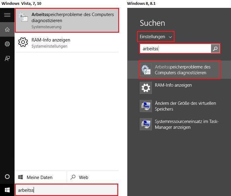 Arbeitsspeicher (RAM) auf Fehler überprüfen unter Windows 10