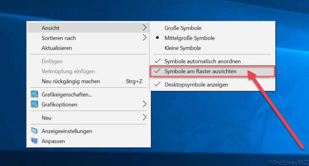 Desktop-Symbole unter Windows 10 automatisch oder manuell anordnen