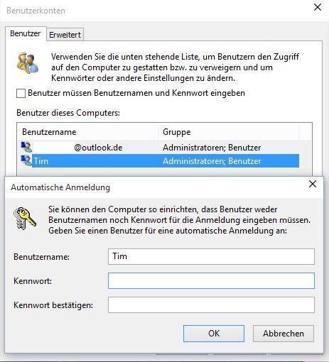 Windows 10: Automatische Anmeldung ohne Passwort