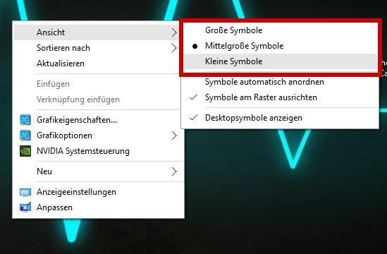 Desktop Symbole unter Windows 10 in der Größe anpassen