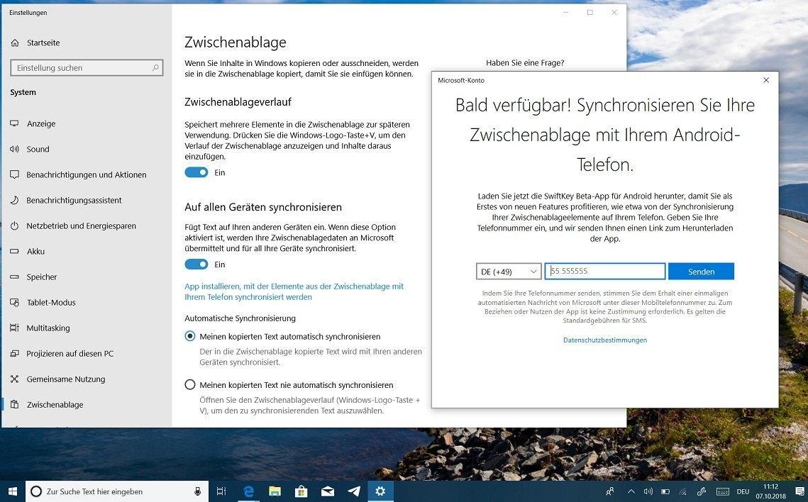 Synchronisierte Zwischenablage in Windows 10 - was ist das?