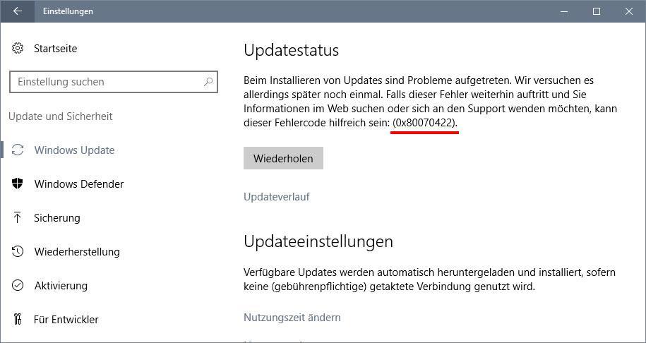 Lösung: 0x80070422 - Fehler in der Update-Funktion
