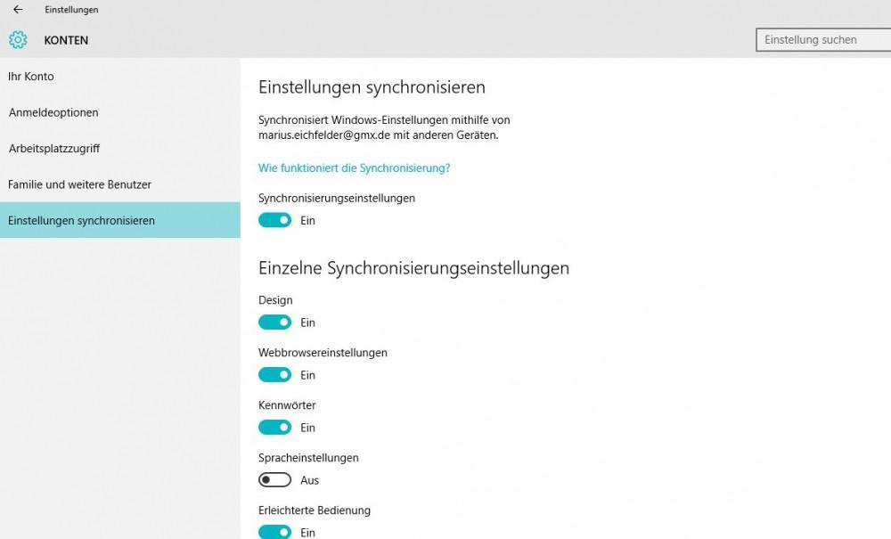 Windows 10 Einstellungen synchronisieren - so geht es