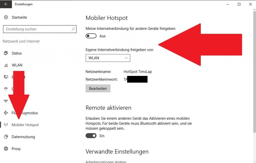 Hotspot erstellen und einrichten unter Windows 10