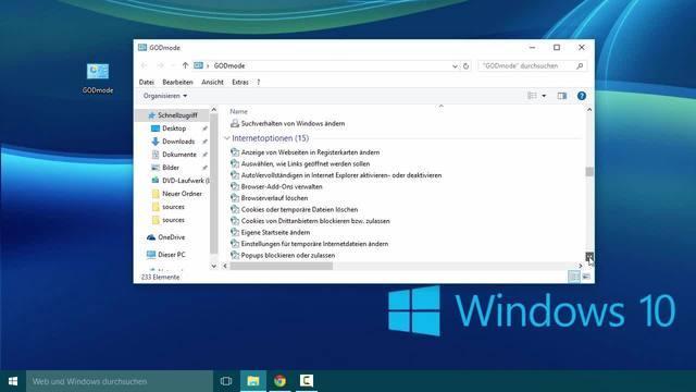 So schalten Sie den God-Mode unter Windows 10 frei